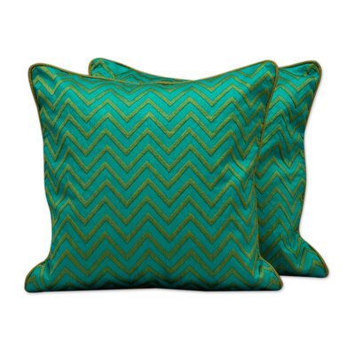 Tribal Machine Embroidered Geometric Pillow Cover Color: Teal Green / Teal