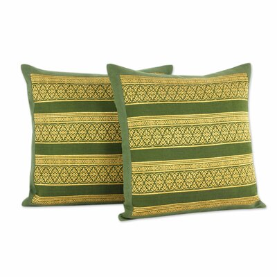 Enchanted Thai Jungle Thai Brocade Cotton Pillow Cover