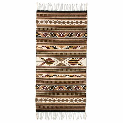 Zapotec Brown Hand-Woven Area Rug