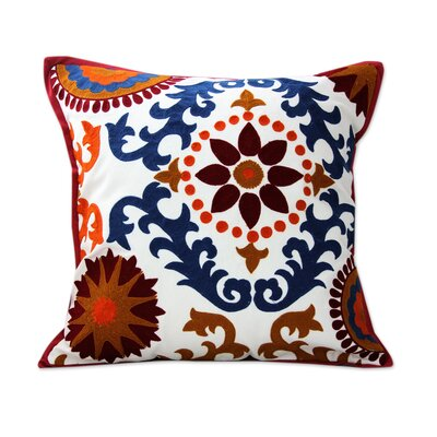 Floral Jazz Bright Floral Embroidery Pillow Cover