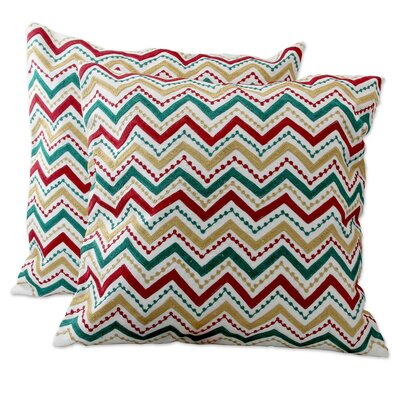 Festive Zigzag Embroidered Pillow Cover