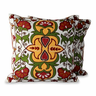 Floral Ecstasy Fair Trade Applique Floral Pillow Cover
