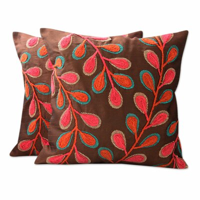 Festival of Foliage India Leaf Theme Embroidered Pillow Cover