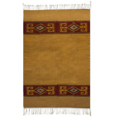 Weare Hand Woven Brown/Yellow Area Rug