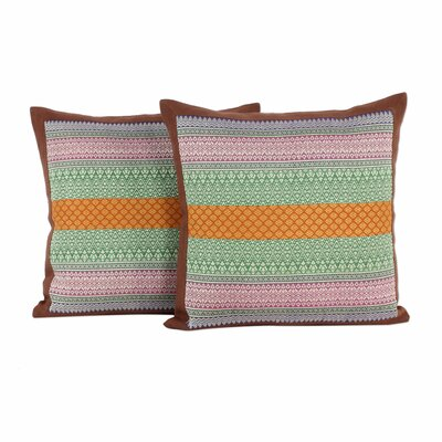 Enchanted Thai Meadow Handwoven Cotton Pillow Cover