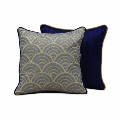 Sapphire Elegance Embroidered Pillow Cover