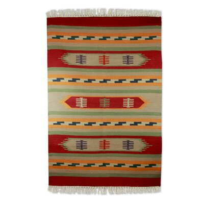 Hand Woven Red/Beige Area Rug