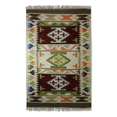 Hand Woven Beige/Blue Area Rug