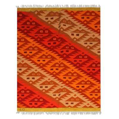 Hand Woven Red/Yellow Area Rug