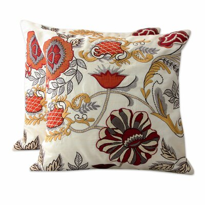 Cheerful Garden Embroidered Flowers on Square Cotton Pillow Cover