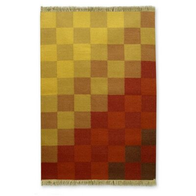 Artisan Crafted Multicolor  Sunset Geometry Expertly Hand Woven Indian Wool Home Decor Area Rug