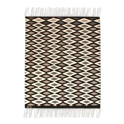 Fair Trade Beautiful Checkered Diamonds Expertly Hand Woven South American Wool Home Decor Accent Rug