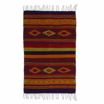 Zapotec Hand-Woven Red/Brown Area Rug