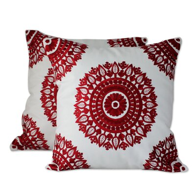 Ruby Mandalas Embroidered Pillow Cover