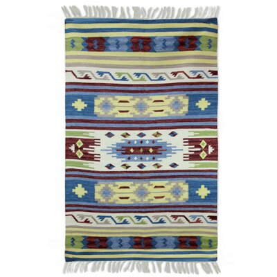 Fair Trade Multicolored Geometric  Spring Fireworks Expertly Hand Woven Indian Wool Home Decor Area Rug