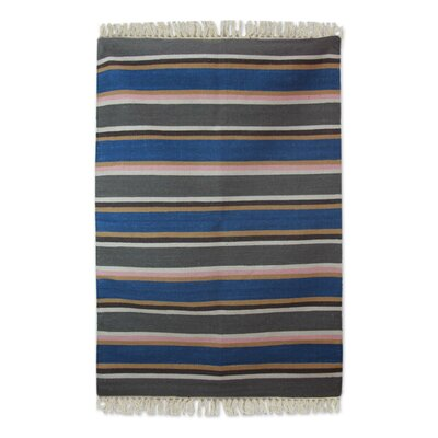 Hand Woven Blue/Gray Area Rug