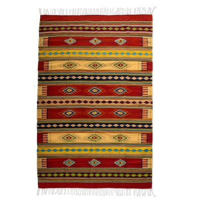 Hand Woven Yellow/Terracotta Area Rug