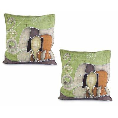 Elephants Reminiscences Batik Cotton Pillow Cover