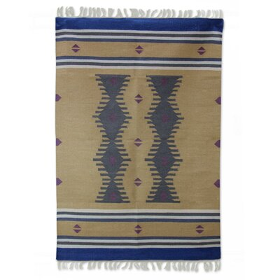 Hand-Loomed Blue/Brown Area Rug