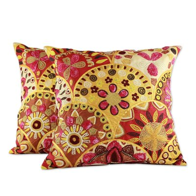 Fiery Flowers Embroidered Indian Floral Pillow Cover