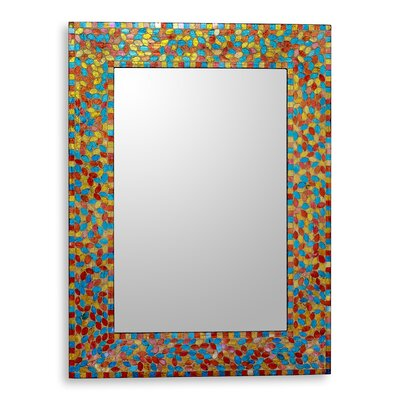 Summer Leaves Handcrafted Glass Mosaic Wall Mirror 229602