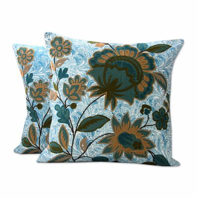 Splendid Blossom India Chain Stitch and Applique Cotton Pillow Cover
