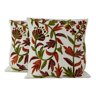 Blossoms Aari Embroidery Cotton Pillow Cover