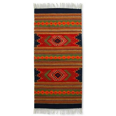 Hand Woven Red/Green Area Rug