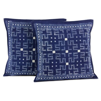 Hmong Labyrinth Hill Tribe Artisan Crafted Batik Cotton Pillow Cover