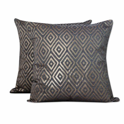 Diamond Glam Foil Print Cotton Pillow Cover