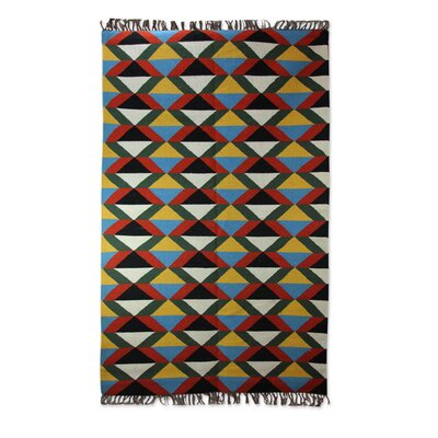 Hand-Loomed Yellow/Blue/Pink Area Rug
