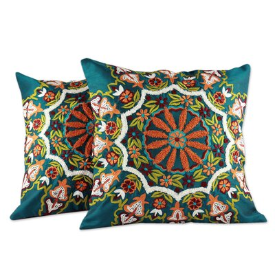 Floral Forest Floral Embroidered Pillow Cover