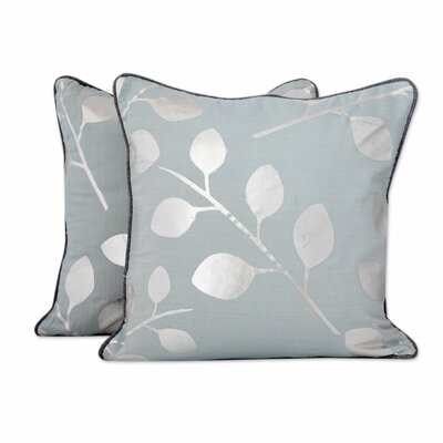 Drifting Leaves Pale Cotton Pillow Cover
