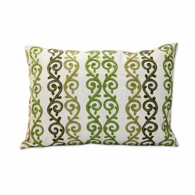 Forest Ferns Beaded Ecru Cotton Pillow Cover