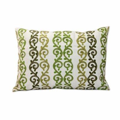 Forest Ferns Beaded Ecru Cotton Pillow Cover