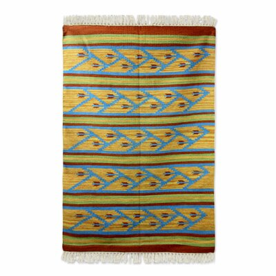 Hand-Loomed Blue/Yellow Area Rug