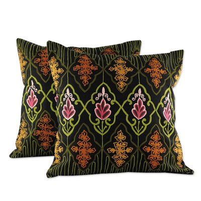 Floral Night 2 Chain Stitch Embroidery Cotton Pillow Cover
