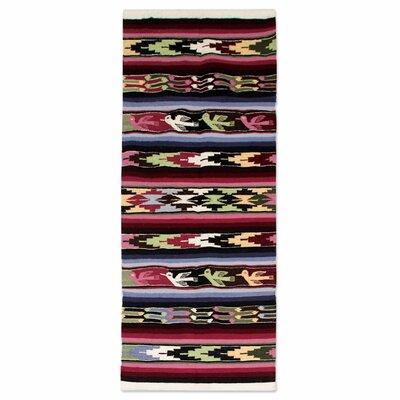 Hand Woven Black/Burgundy Area Rug