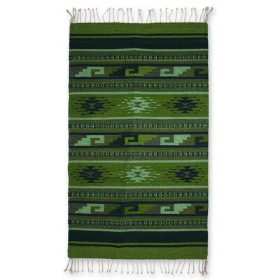 Weare Hand Woven Green Area Rug
