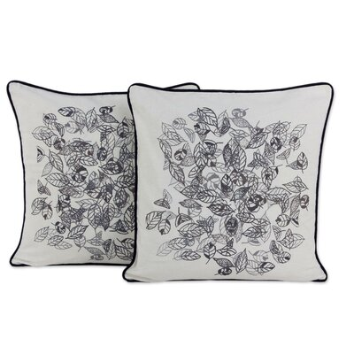 Falling Leaves Fair Trade with Leaf Motif Cotton Pillow Cover