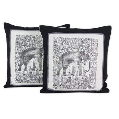 Elephant Artisan Crafted Elephant Cotton Pillow Cover