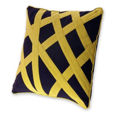Eccentric Modern Handmade Cotton Pillow Cover Color: Yellow