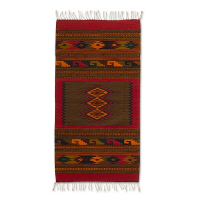 Zapotec Hand Woven Brown/Red Area Rug