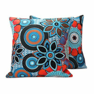 Flower Fest Print Hand Beaded Cotton Pillow Cover