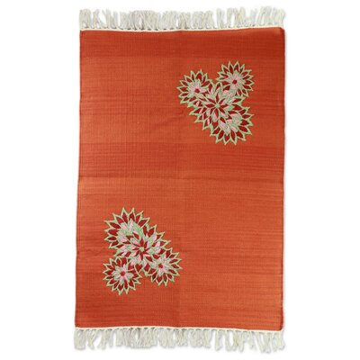 Hand Woven Orange Area Rug