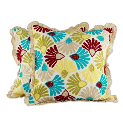 Floral Delight Floral Embroidered Cotton Pillow Cover