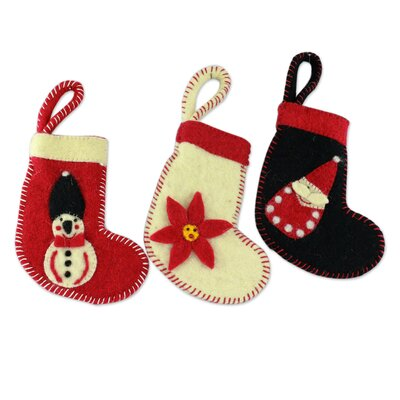 3 Piece Hand-Crafted Christmas Stocking Ornament Set