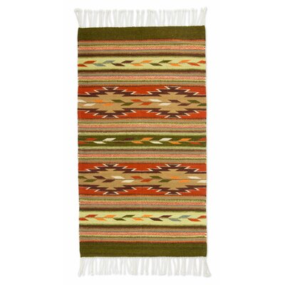 Zapotec Hand Woven Green/Brown Area Rug