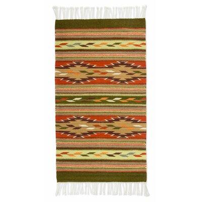 Mcfarlin Hand Woven Green/Brown Area Rug