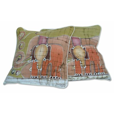 Father and Son Handcrafted Batik Elephant Cotton Pillow Cover